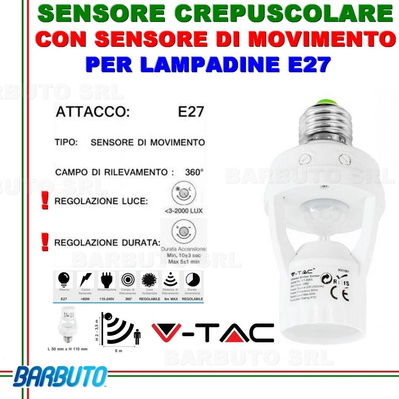 Portalampada adattatore v tac vt 8005 con sensore di - Portalampada con sensore crepuscolare ...