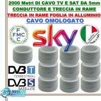2000 mt DI CAVO H21 OMOLOGATO SKY MICROTEK IN RAME PER TV E SAT Ø 5mm