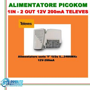 ALIMENTATORE PICOKOM 1IN - 2 OUT 12V 200mA TELEVES 579401