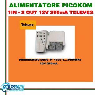 ALIMENTATORE PICOKOM 1IN - 2 OUT 12V 200mA TELEVES 579401