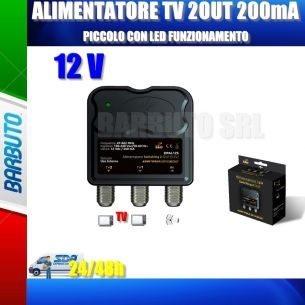 MINI ALIMENTATORE TV PER AMPLIFICATORE ANTENNA TERRESTRE 12V - 2 USCITE 200mA