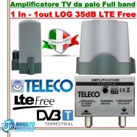 AMPLIFICATORE TV DA PALO 1 INGRESSO LOG LARGA BANDA 35 dB TELECO TEAR3LTE/LB