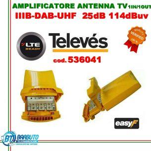 AMPLIFICATORE DA PALO 3 Ingressi B3 23dB UHF-UHF 25dB LTE TELEVES art.536041