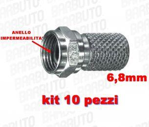 10 CONNETTORI F A VITE PER CAVO DA 6,8 mm CON ANELLO IMPERMEABILITA' O-RING