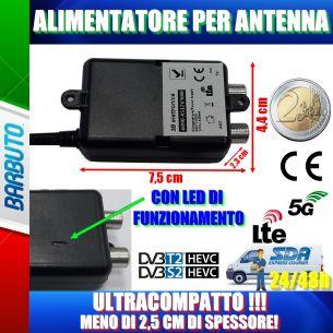 MINI ALIMENTATORE TV PER AMPLIFICATORE ANTENNA TERRESTRE 12V - 1 USCITA 300mA