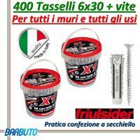 400 TASSELLI UNIVERSALI FRIULSIDER X1 IN NYLON 6X30 mm CON VITE E CON SECCHIELLO