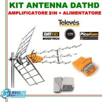 KIT ANTENNA DIGITALE TERRESTRE TELEVES DATHD 790 LTE + AMPLIFICATORE 2IN + ALIMENTATORE 2 OUT