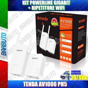 KIT POWERLINE GIGABIT + RIPETITORE WIFI TENDA AV1000 PH5