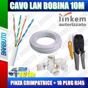 KIT 10MT DI CAVO LAN CAT5e UTP 100%RAME OMOLOGATO LINKEM + PINZA + 10 PLUG RJ45
