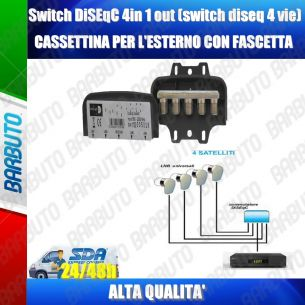 SWITCH DISEQC 4 in 1 out TERRA conn.F, PER 4 LNB,TERRA TR51802