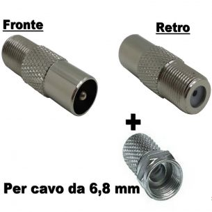 SPINOTTO TV MASCHIO ANTI INTERFERENZE SUPER SCHERMATO ANTI LTE PER CAVO 6,8 mm