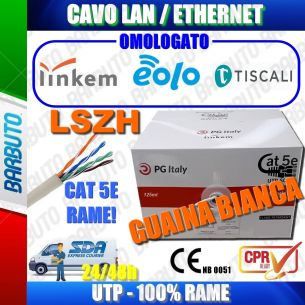 CAVO LAN/ETHERNET CAT5e UTP LSZH 100% RAME 125MT OMOLOGATO LINKEM AUTORIZZATO
