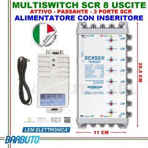 MULTISWITCH SCR IBRIDO A 8 USCITE INDIPENDENTI SCX53/8 PASSANTE + ALIMENTATORE
