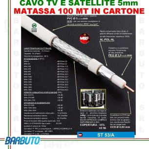 CAVO COASSIALE TV ANTENNA MATASSA 100 M ALTISSIMA QUALITÀ MESSI E PAOLONI ST53/A