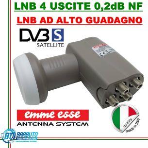 LNB OCCHIO CONVERTITORE 4 USCITE UNIVERSALI 0,1 dB NF EMMEESSE 80199KU LTE