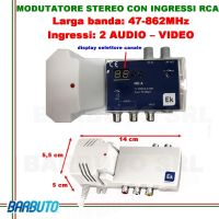 MODULATORE AUDIO VIDEO - STEREO RCA CON DISPLAY PER CANALI - USCITA 90dBµV