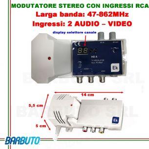 MODULATORE AUDIO VIDEO - STEREO RCA CON DISPLAY PER CANALI - USCITA 90dBµV