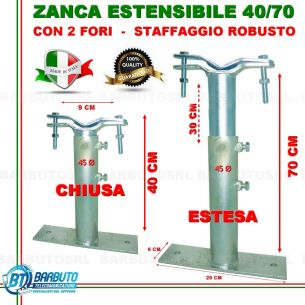 ZANCA TIPO EMILIA 40/70 CM TELESCOPICA REGOLABILE,STAFFA X ANTENNA-MADE IN ITALY