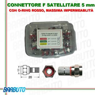 CONNETTORE F SATELLITARE 5mm 25 PEZZI CON O-RING MASSIMA IMPERMEABILITÀ