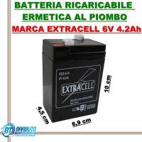 BATTERIA RICARICABILE ERMETICA AL PIOMBO 6V - 4.2Ah EXTRACELL PER ANTIFURTO UPS
