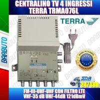 CENTRALINO TV 4 INGRESSI, FM-III-2xUHF CON FILTRO LTE VHF-35 dB UHF-44dB 121dBmV TERRA TRMA076L