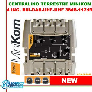 CENTRALINO AMPLIFICATORE TV 4 IN UHF 2-VHF-FM 38dB 117dBuV LTE 562401 TELEVES
