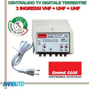 CENTRALINO TV SERIE WHITE LINE LTE 3 INGRESSI VHF 30dB UHF-UHF 30dB EMMESSE 82459L