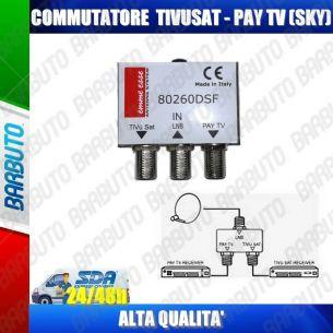 COMMUTATORE SWITCH PER DOPPIO COLLEGAMENTO RICEVITORE TIVUSAT - PAY TV (SKY) 80260DSF