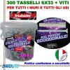 300 TASSELLI UNIVERSALI FRIULSIDER FIXI IN NYLON 6X33mm + VITE E CON SECCHIELLO