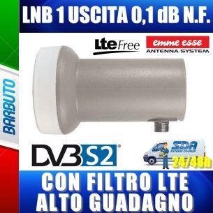 LNB 1 USCITA UNIVERSALE 0,1 dB N.F. SERIE XTRA LINE + LTE FILTER EMMEESSE 80185KL