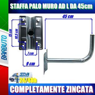 """STAFFA SUPPORTO A """"L"""" 45 CM DAL MURO X PARABOLE DA 40-60-80 CM"""
