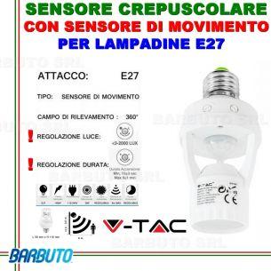 PORTALAMPADA ADATTATORE V-TAC VT-8005 CON SENSORE DI MOVIMENTO PER LAMPADINE E27
