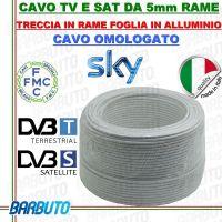 25 mt DI CAVO H21 MICROTEK OMOLOGATO SKY IN RAME PER TV E SAT Ø 5mm CLASSE B