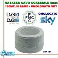 100 mt DI CAVO H21 OMOLOGATO SKY MICROTEK IN RAME PER TV E SAT Ø 5mm CLASSE B