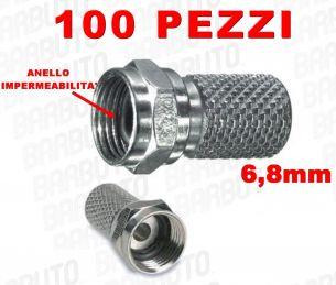 CONNETTORI F A VITE PER CAVO DA 6,8 mm CON ANELLO IMPERMEABILITA' O-RING 100 PZ.