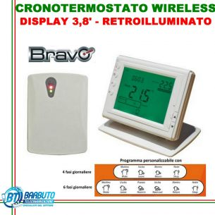 CRONOTERMOSTATO DIGITALE WIRELESS DISPLAY 3,8' PROGRAMMAZIONE AUTOMATICA BRAVO
