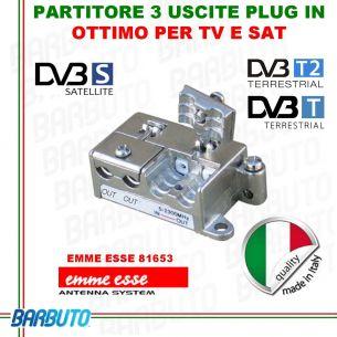 PARTITORE 3 USCITE EMMEESSE SERIE PlugIN MODELLO P3 IN PRESSOFUSIONE COD.81653
