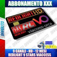SCHEDA TESSERA ABBONAMENTO ADULTI REDLIGHT 9 STARS 9 CANALI 12 MESI VIACCESS XXX