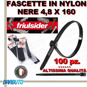 FASCETTA PER CABLAGGIO IN NYLON NERO 4,8 X 160mm FRIULSIDER (ALTISSIMA QUALITÀ)