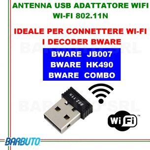 ANTENNA USB ADATTATORE WIFI CHIAVETTA WI-FI 802.11N PER DECODER BWARE JB007 - HK490 - COMBO - HK540