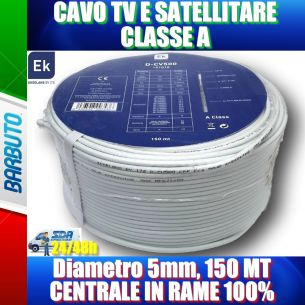 CAVO TV E SATELLITARE Diametro 5mm, CLASSE A 150 MT CENTRALE IN RAME 100% DCV500