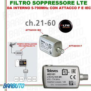 FILTRO LTE DA INTERNO 5-790MHz SELETTIVO, TELEVES 403401,IDEALE CENTRALINO TV