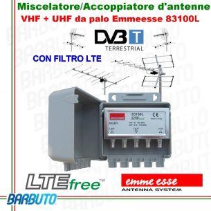 Miscelatore / Accoppiatore d'antenne VHF + UHF 2IN/1OUT da palo, Emmeesse 83100L