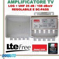 AMPLIFICATORE LOG + UHF 25 dB, 108 dBmV REGOLABILE CON FILTRO LTE EMMEESSE 83214TL