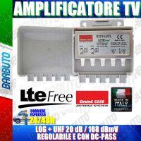 AMPLIFICATORE 2 USCITE LOG + UHF 20 dB, 108 dBmV REGOLABILE CON FILTRO LTE EMMEESSE 83214-2TL