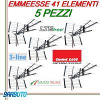5 PEZZI DI ANTENNA DIGITALE TERRESTRE UHF DVB-T EMMEESSE 30dB LTE 41 ELEMENTI
