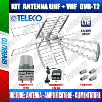 KIT ANTENNA COMBO TV DIGITALE TERRESTRE 35db LTE TELECO + AMLIFICATORE + ALIMENTATORE