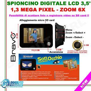 SPIONCINO DIGITALE SOTTOCCHIO UNIVERSALE DISPLAY 1,3 MPX 3,5' ZOOM 6X, REGISTRAZIONE SU SD