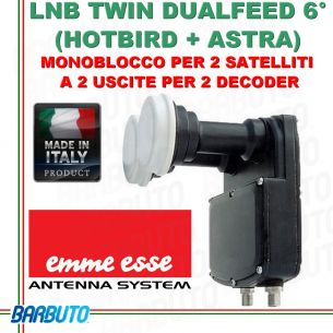 LNB DUALFEED 6° ( ASTRA + HOTBIRD ) A 2 USCITE MONOBLOCCO TWIN EMMEESSE 80189DF