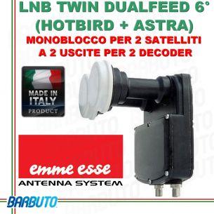 LNB DUALFEED 6° ( ASTRA + HOTBIRD ) A 2 USCITE MONOBLOCCO TWIN EMMEESSE 80189DF